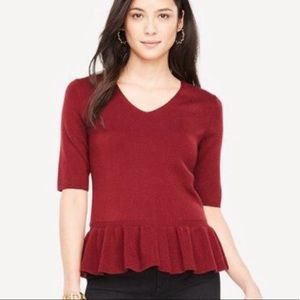 Ann Taylor Wine Merino Wool Peplum Sweater